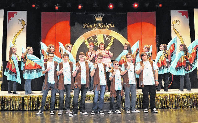 """Performers for the selection, """"Fly Like an Eagle,"""" pictured in the front row are Levi Wright, Derek Salyers, Brady Sayre, Bailey Johnson, Parker Henderson, Garrett Harbour, and Zach Russell, and pictured in the second row are Olivia Boggess, Brittney Crump, Kristen Veroski, Caitlin Campbell, Grant Bale, Salem Russell, Olivia Snyder, Aubrey Hatfield, Erin Davis, and Kenly Arbogast."""