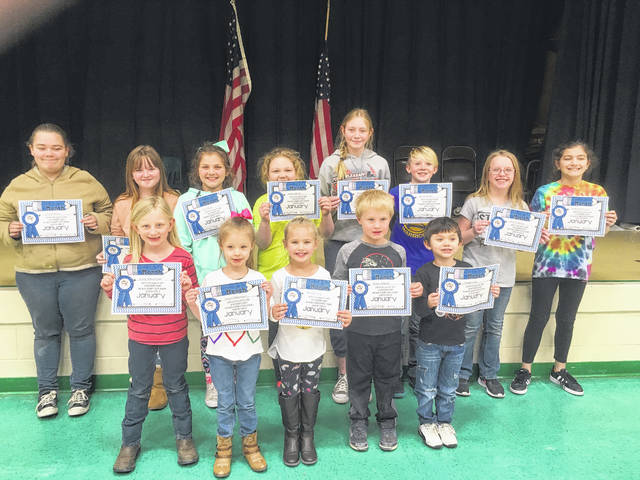 January Students of the Month for Beale Elementary chosen for a trustworthy character trait pictured are: Jaelyn Williamson, Teven Long, Marlie Fetty, Reece Roberts, Daisy Schoonover, Kaben Meeks, Olivia Bays, Kohen Adams, Chasity White, Audreanna Reed, Sophia Atkinson, Brianna Mayes and Madison Litchfield. James Loring and Piper Boggs are not pictured.