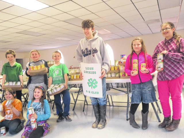 The Leon Luckies held its annual can food drive for the Leon Baptist Food Pantry. The members pictured from left to right, front row, Elizabeth McCoy and Frannie Flora, left to right, back row, Tommy McCoy, Luke Thomas, Wyatt Oldaker, Robert Fisher, Brianna Miller, Amanda Flora. Members not pictured were Nicole Oldaker, McKenna Hull, and Riley Springston.