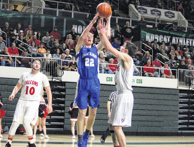Gallia Academy junior Cory Call (22) shoots a layup during the first half of the Division II district semifinal on March 1 in Athens, Ohio.