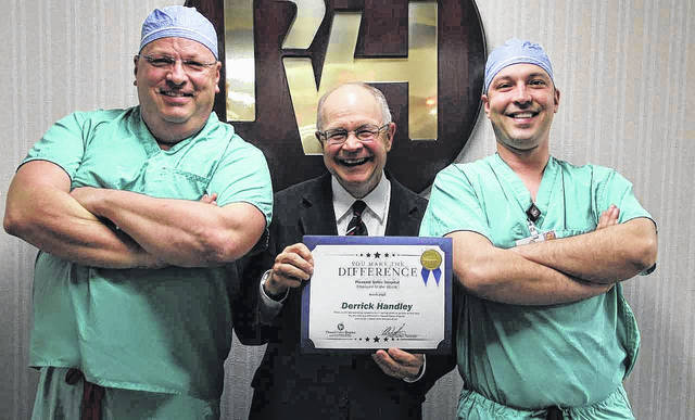 Pictured are Ryan Henry, chief of anesthesia and director of surgical services, Glen Washington, FACHE, PVH CEO, and Derrick Handley, PVH employee of the month.