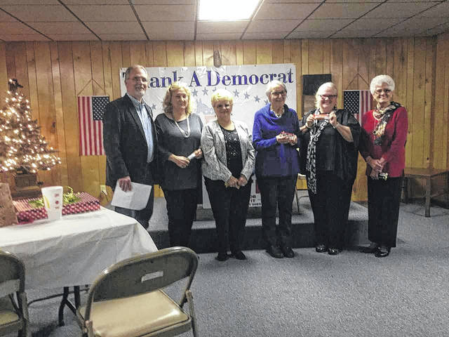 Officers of the Mason County Democratic Women's Organization for 2018-19 were installed by Scott Brewer (far left), delegate for the 13th district. Those installed were Jerrie Howard (second from left), president; Mercedes Sayre, vice-president; Molly Park, treasurer; Marty Reed, treasurer; and Doma Hern, parliamentarian. Appointed later by the president was Shirley Livingston, chaplain.