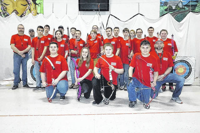 The newly formed Wahama High School Archery Team is pictured, along with Coach Larry Gray, and assistants Todd Grinstead and Luke Harris. The team has already competed in two Jackson County, WV tournaments, and plans to enter another in April at Eastern High School.