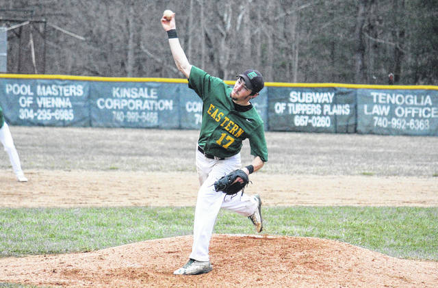 Eastern senior Ethen Richmond (17) delivers a pitch during the Eagles' 11-0 victory over Miller on Tuesday in Tuppers Plains, Ohio.
