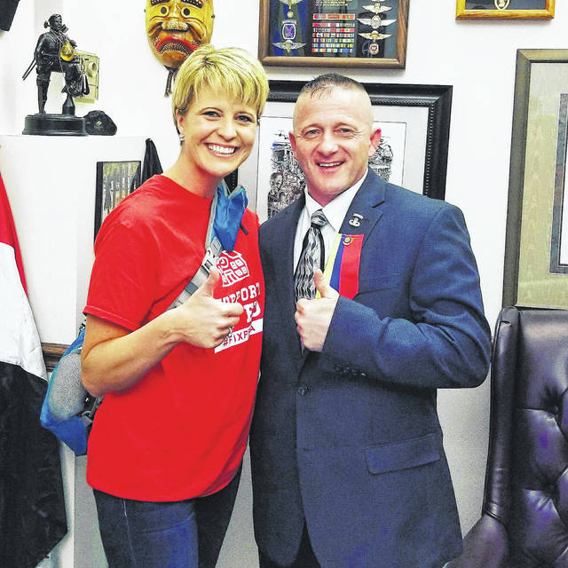 Leon Elementary Teacher Amy Grady who plans to run for State Senate, is pictured with State Senator Richard Ojeda, II, (D-Holden) who is also running for U.S. House of Representatives for the Third Congressional District. Grady, like many teachers, met with Ojeda during the work stoppage.