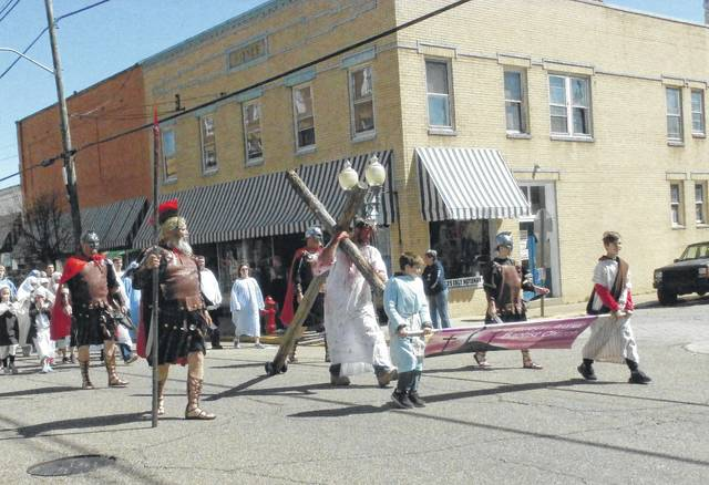 """Jackson Avenue Baptist Church portrays """"Jesus Carrying the Cross"""" from the Easter Parade in downtown Point Pleasant last year."""
