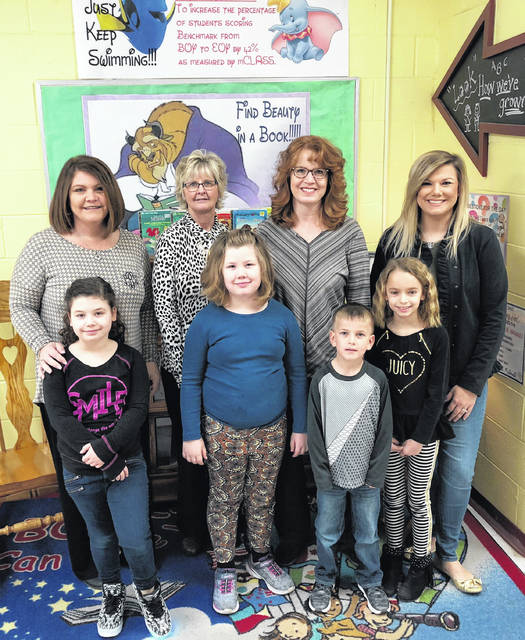 Point Pleasant Primary School (PPPS) announces county winners for the Young Illustrators Contest. The winners pictured with their teachers are second grader, Jaylynn Jenkins and Mrs. Lisa Bryant; first grader, Ember Putney and Mrs. Jill Martin; kindergartener, Layton Powell and Mrs. Vanessa Sayre; second grader, Macy Taylor and Mrs. Loren Watterson.