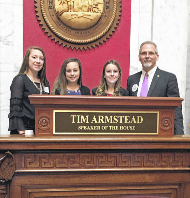 Wahama Junior High School eighth graders, pictured from left, are Lacey Neal, Rilee Zerkle, and Allison Tennant. The students recently served as pages at the State Capitol in Charleston. They were sponsored by Delegate Scott Brewer from the 13th District of the House of Delegates.