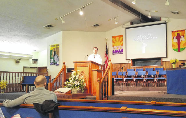 Cameron Armstong, a missionary to Romania visited Good News Baptist Church Wednesday evening and shared about his experiences working in a country that doesn't speak their language and a culture different from what they know.