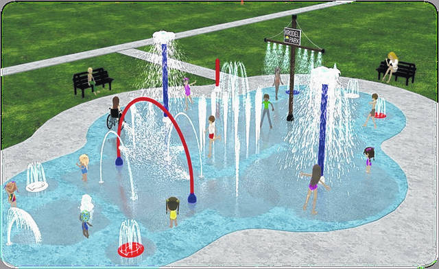 Members of Point Pleasant City Council were updated on the splash pad project at Monday's regular meeting. Pictured is an artistic rendering of the splash pad which will be placed at Krodel Park.