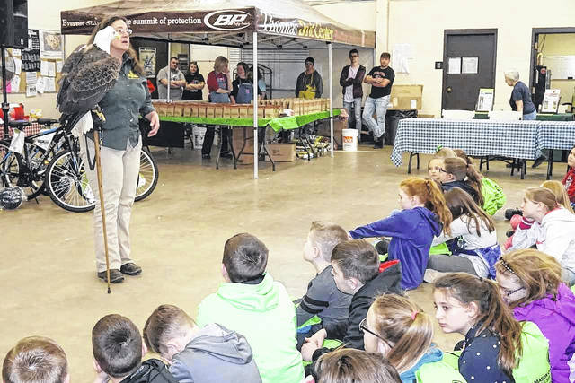 A bald eagle was one of the many birds displayed during a presentation by the Three Rivers Avian Center at the Outdoor Youth Expo Wednesday which continues today. The purpose of the expo is to promote awareness of positive, safe, and drug-free activities for students, families, and communities. More on the expo in a special feature story this Saturday.