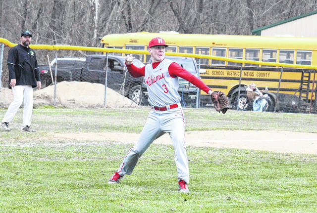 Wahama senior Bryton Grate (3) fires to first base during the White Falcons' 5-4 loss to Eastern on Tuesday in Tuppers Plains, Ohio.