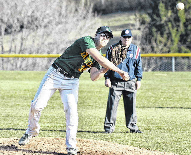 Eastern senior Kaleb Honaker delivers a pitch in game one of the Eagles' doubleheader sweep of South Gallia on Wednesday night in Mercerville, Ohio.