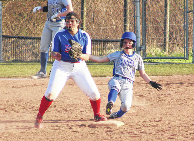 Gallia Academy freshman Malerie Stanley slides safely into second base during the sixth inning of Friday night's OVC softball contest against Portsmouth in Centenary, Ohio.