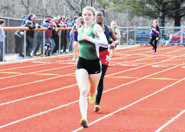 Eastern senior Jessica Cook competes in the 800m run at the Rocky Brand Invitational on March 31 in Nelsonville, Ohio.