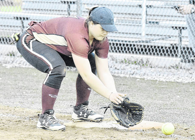 MHS senior Peyton Rowe fields a ground ball during the Lady Marauders doubleheader sweep of River Valley on Wednesday night in Meigs County.