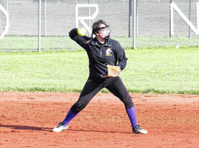 Southern sophomore Kassie Barton throws to first base, during the Lady Tornadoes' 25-2 victory over South Gallia on Thursday in Racine, Ohio.
