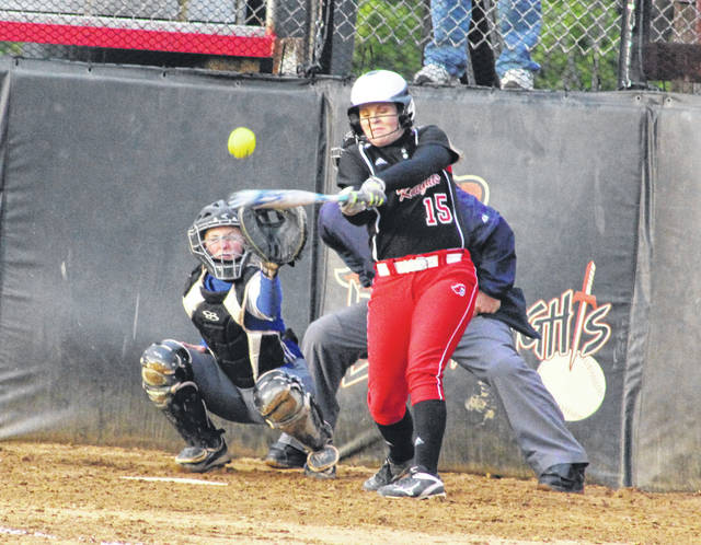 Point Pleasant senior Kelsey Price hits a fly ball during Wednesday night's non-conference softball contest against Ripley in Point Pleasant, W.Va.