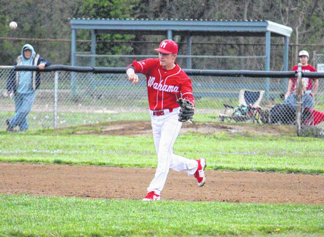 Wahama junior Tanner Smith throws to first base during the White Falcons' 7-0 loss to Eastern on Wednesday in Mason, W.Va.