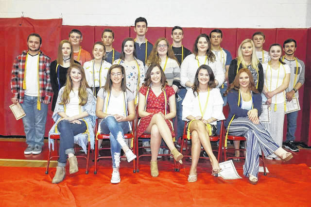A total of 20 Wahama High School students were inducted into the National Honor Society recently. Pictured, front row from left, are Adrianna Faith Stewart, Hannah Marie Rose, MacKenzie Dawn Barr, Sydnee Nicole Whaley, and MaKinley Elaine Bumgarner. Second row, Emma Marie Tomlinson, Olivia Rae Johnson, Mariah Faith Young, Sophia Dawn Russell, Kyrsten Skylar Baker, Tori Elizabeth Robinson, and Skylar Cierra Riffle. Back row, Alexander James Mitchell, Gage Samuel Smith, Ethan Michael VanMatre, Adam Todd Groves, Abram Xavier Pauley, Antonio Dominic Serevicz, Braedon Ross Bumgarner, and Brodee Samuel Howard.