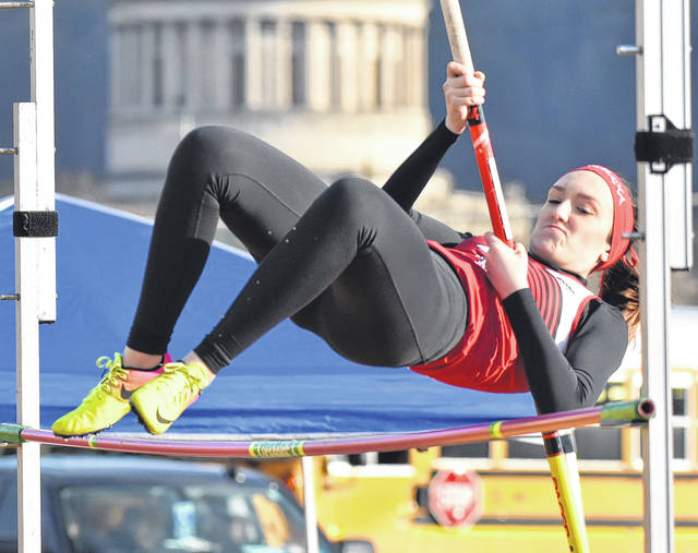 Wahama's MacKenzie Barr clears an obstacle in the pole vault event held Friday during the 2018 Herbert Hoover Invitational at Laidley Field in Charleston, W.Va.