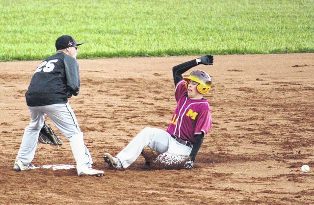 Meigs' Cory Cox (11) slides into second for a stolen base during the Marauders' 11-1 victory on Wednesday in Rocksprings, Ohio.