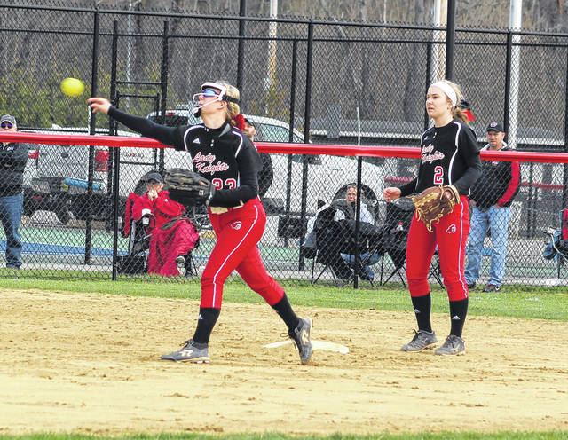 Point Pleasant second baseman Madilyn Keefer, left, relays a throw to first base as shortstop Peyton Jordan looks on during the third inning of Thursday night's softball contest against Wayne in Point Pleasant, W.Va.