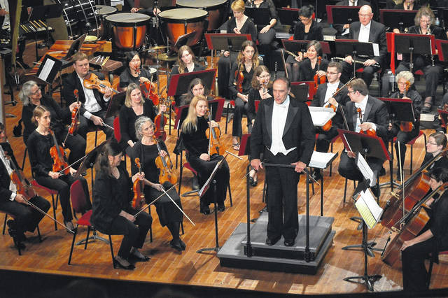 Maestro Ray Fowler addresses the audience during a spring 2017 production featuring The Ohio Valley Symphony.
