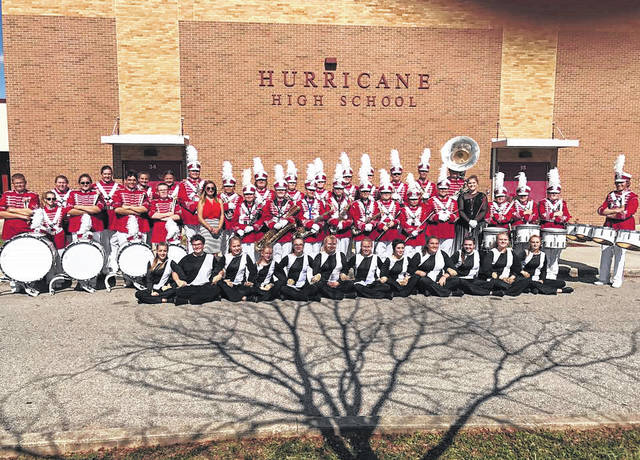The Wahama White Falcon Band is pictured prior to the Hurricane Band Festival last fall, where members won several awards, including being tied for runner-up to grand champion in the small band division. The band held a victory march through New Haven and Mason afterward.