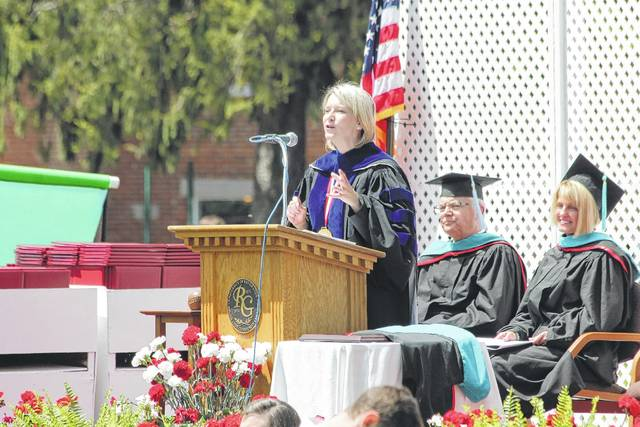 University of Rio Grande and Rio Grande Community College President Dr. Michelle Johnston speaks to graduates during the 139th commencement ceremony in 2015.