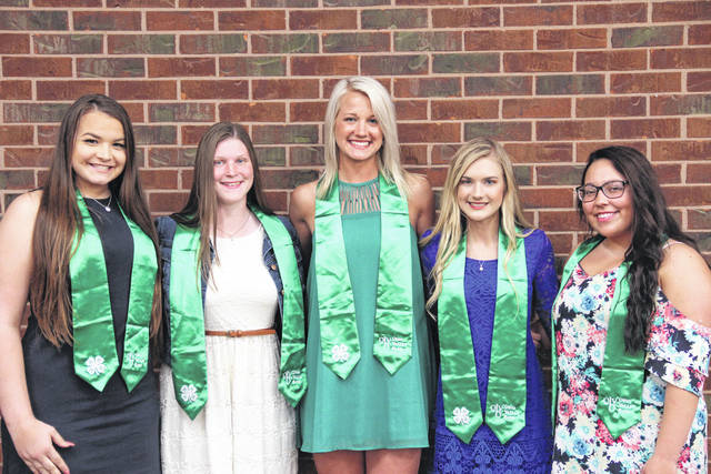 2018 Ohio Valley Bank 4-H Scholars (L-R): Megan Adkins, Cabell County; Rachel Kesterson, Meigs County; Grace Martin, Gallia County; Kate Henderson, Mason County; and Kira Mullins, Jackson County. Not pictured is Kalesie Henderson of Pike County.