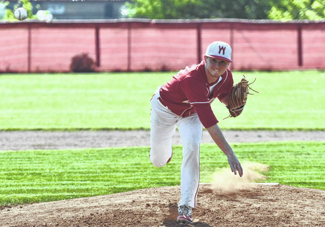 Wahama senior Dalton Kearns delivers a pitch during the first inning of Monday night's Class A Region IV, Section 1 baseball contest against Calhoun County in Mason, W.Va.
