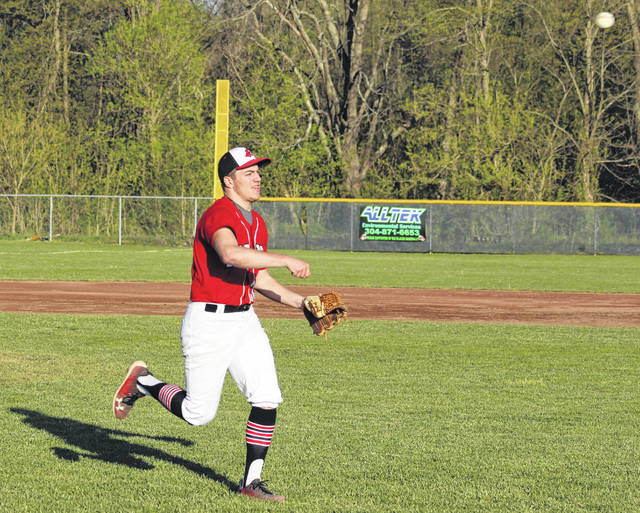 Point Pleasant senior Alec Smith tosses the ball to first base for a force out during the fourth inning of Monday night's non-conference baseball contest against Buffalo in Point Pleasant, W.Va.