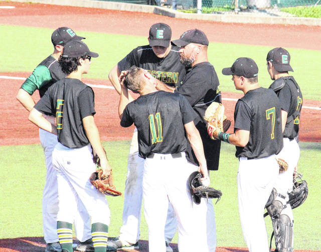 Eastern skipper Brian Bowen meets with the Eagle infield, during the Division IV district semifinal on May 14 in Chillicothe, Ohio.
