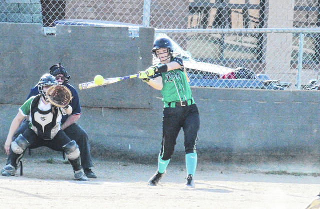 Eastern junior Ally Barber hits a two-run home run in the third inning of the Lady Eagles' 10-7 victory on Tuesday in Tuppers Plains, Ohio.
