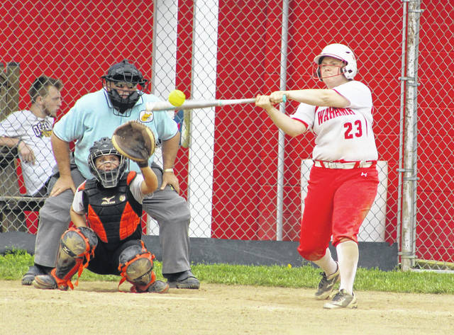 Wahama junior Maddy VanMatre belts out a hit during a May 4 softball contest against Wirt County in Hartford, W.Va.