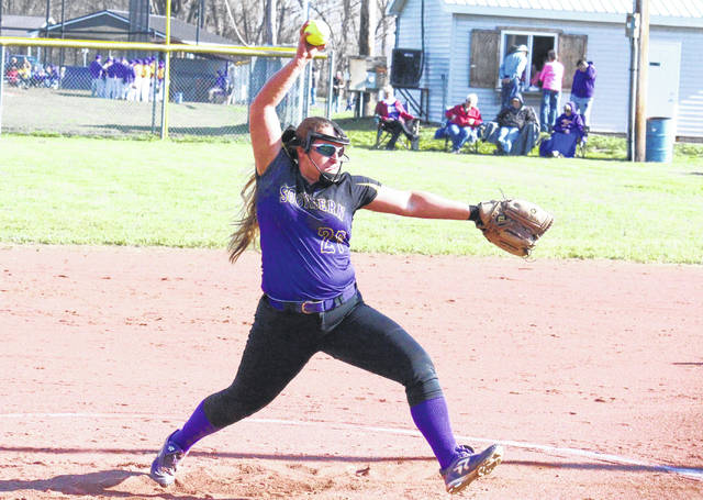 Southern senior Sydney Cleland pitches during the Lady Tornadoes' TVC Hocking win over Waterford on April 11 in Racine, Ohio.