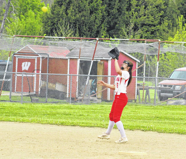 Wahama shortstop Ashtyn Russell prepares to snag a line drive during the sixth inning of Friday night's Class A Region IV, Section 1 softball contest against Wirt County in Hartford, W.Va.