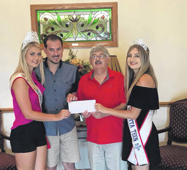 Brad Deal and David Deal are pictured with the 2017 Regatta Queens, Emma Rice and Ally Harper. Both father and son sponsored this year's Teen & Miss crowns and sashes. Brad Deal is pictured representing Brad Deal Catering and David Deal for Deal Funeral Home. Pictured from right to left is Emma Rice, Brad Deal, David Deal, and Ally Harper.