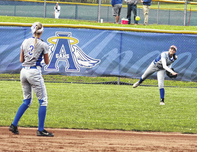 Gallia Academy freshman Bailie Young, right, relays a throw into sophomore Alex Barnes (3) during an April 26 softball game against Coal Grove in Centenary, Ohio.
