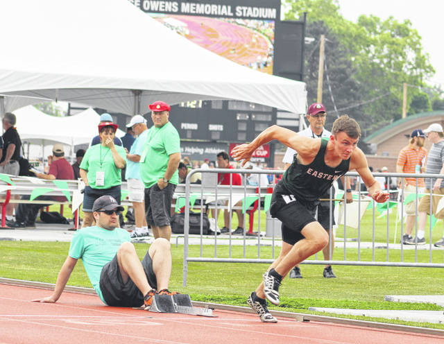 Eastern junior Noah Browning gets out of the blocks during the second heat of the Division III 400m dash semifinals held Friday morning at Jesse Owns Memorial Stadium in Columbus, Ohio.