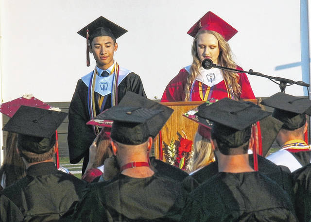 Top students MacKenzie Freeman, pictured at right, and Bryce Tayengco, delivered speeches to their classmates during Saturday's graduation commencement ceremony at Point Pleasant High School.