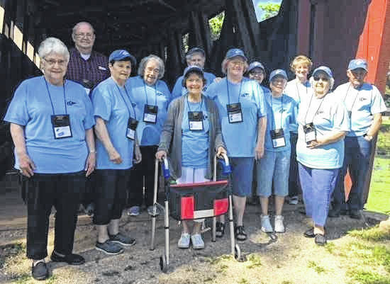 As part of their May activities, representatives from the Mason Senior Center attended the Robert W. Jackson Senior Conference at Cedar Lakes. Pictured, from left, are Shirley Tucker, Smitty Jarrell, Agnes Roush, Geraldine Roush, Orpha Fields, Carol Dudding, Patty Maynard, Eleanor Davis, Louise Roush, Mary Ann Richards, Mary Roush and John Roach.