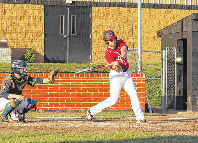 Point Pleasant senior Tucker Mayes swings at a pitch during an April 30 baseball game against Buffalo in Point Pleasant, W.Va.
