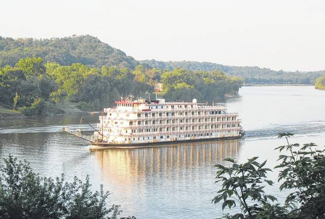 The Queen of the Mississippi, seen here passing through the area last summer, will be at the Riverfront Park in Point Pleasant from now until Wednesday afternoon while repairs are being made to the ship.