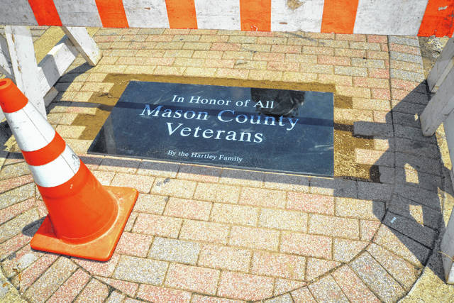 The Hartley family has given Main Street a generous donation, a memorial plaque honoring Mason County Veterans. Workers have been diligent with the installation process, so the residents can enjoy Main Street's newest addition which has been installed near Gunn Park.