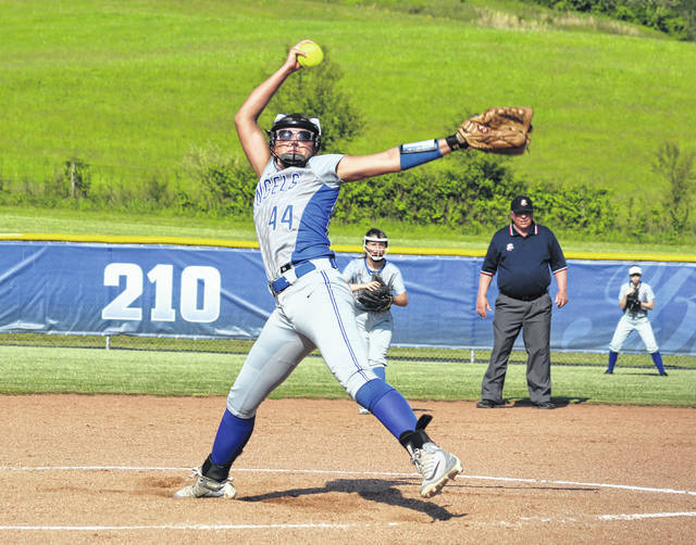 Gallia Academy junior Hunter Copley (44) releases a pitch during a Division II sectional softball final against Unioto on May 9 in Centenary, Ohio.