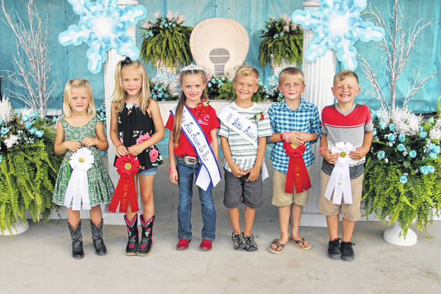 The fair's young royals were chosen on Monday during the Little Miss and Little Mister Mason County Contest organized by the GFWC Point Pleasant Junior Woman's Club. Pictured from left, Little Miss Mason County Second Runner-up Kabella Ord, Little Miss Mason County First Runner-up Macie Patrick, Little Miss Mason County Mary Supple, Little Mister Mason County Easton Lowery, Little Mister Mason County First Runner-up Hunter Spires, Little Mister Mason County Second Runner-up Bentley Gardner.