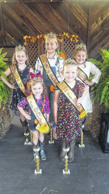 The Country Fall Festival Junior Royalty includes, front row, from left, Reagan Kimbler, Wee Miss Queen; Natalie Akers, Tiny Miss Queen. Back row, front, from left, Abby Woodall, Young Miss Queen; Jalyn Ramsey, Junior Miss Queen; Makenna Nutter, Little Miss Queen.