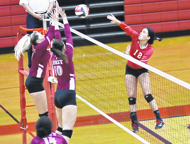 Rio Grande's Kinnison Donaldson sends a volley back over the net during a match against Indiana University East last season. Donaldson and her teammates have been picked eighth in the 2018 River States Conference preseason coaches' poll.